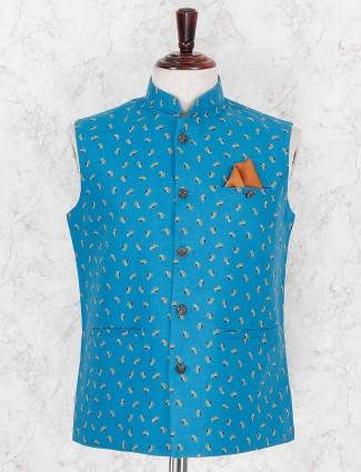 Terry rayon fabric blur printed waistcoat
