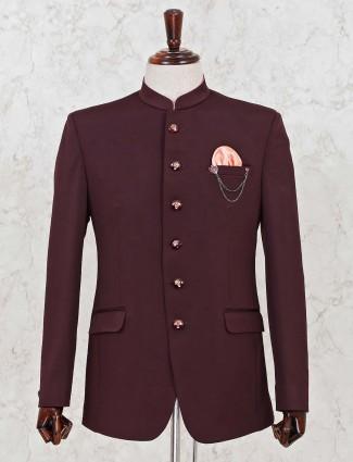 Terry rayon fabric maroon jodhpuri mens blazer