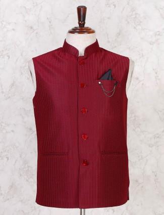 Terry rayon maroon solid mens waistcoat