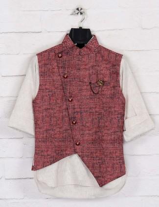 Terry rayon maroon waistcoat set