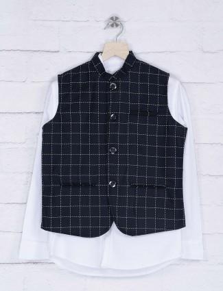Terry rayon navy and white waistcoat shirt