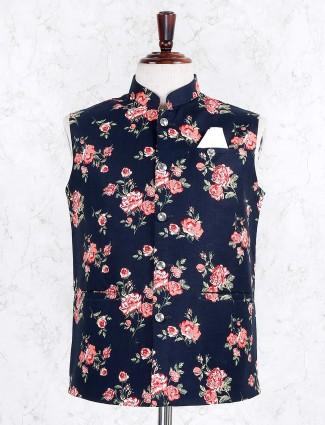 Terry rayon navy hued printed waistcoat