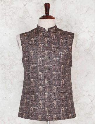 Terry rayon printed dark grey waistcoat