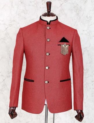 Terry rayon red zitter pattern jodhpuri blazer