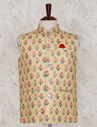 Terry rayon yellow printed waistcoat