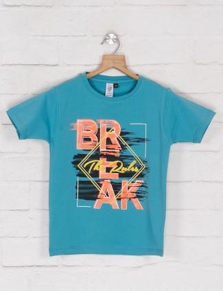 Timbuktuu blue printed cotton casual t-shirt