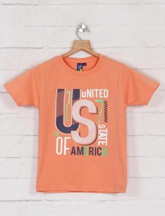 Timbuktuu orange printed casual boys t-shirt