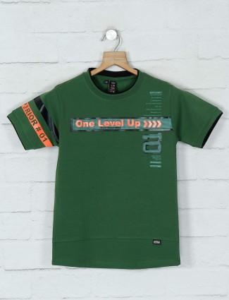 Timbuktuu printed green casual boys t-shirt