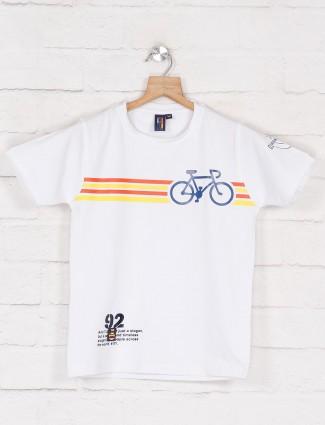 Timbuktuu white cotton printed t-shirt