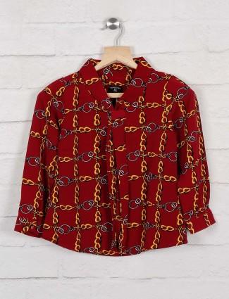 Tiny Girl maroon hue printed casual top