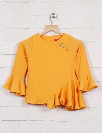 Tiny Girl yellow color plain casual top