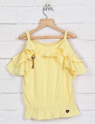 Tiny Girl yellow cotton round neck top