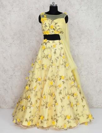 Tissue silk yellow floral print lehenga choli