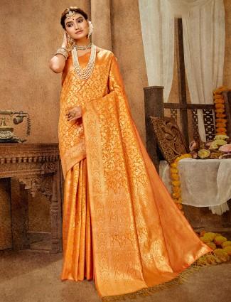 Traditional Gold banarasi silk saree for wedding occasions