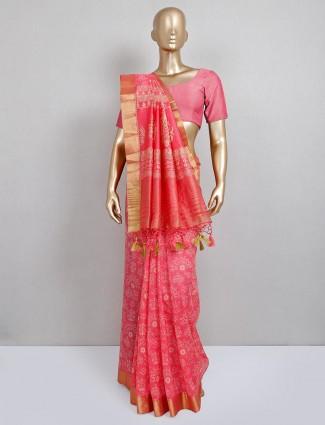 Trending pink cotton silk sari for festival