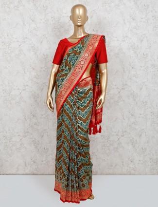 Trendy green cotton silk saree