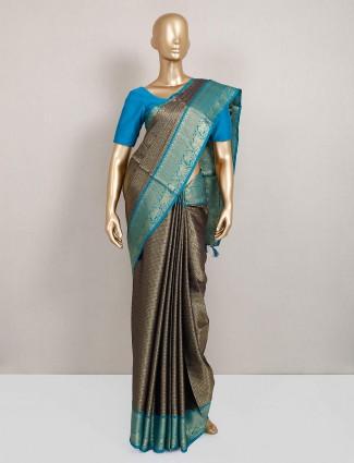 Trendy navy semi silk saree for festive