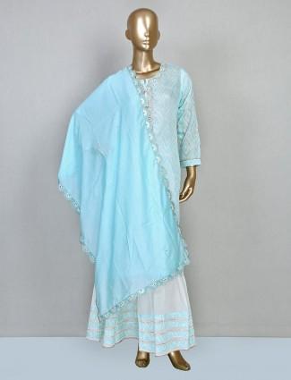 Trendy sky blue cotton sharara suit design for festival