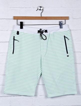 TYZ stripe green cotton slim fit shorts