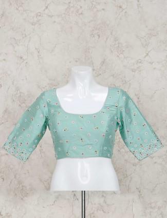 U neck sea green raw silk ready made blouse