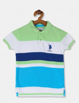 U S Polo Assn aqua and green stripe t-shirt