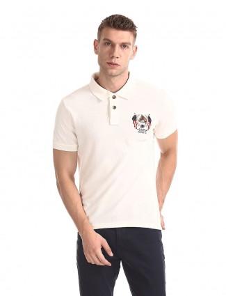 U S Polo Assn cream solid casual t-shirt
