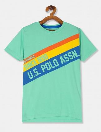 U S Polo Assn green printed casual t-shirt