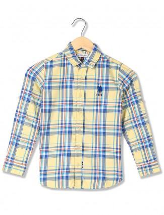 U S Polo checks lemon yellow hue shirt
