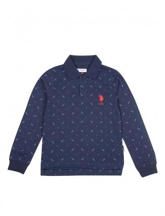 U S Polo navy printed polo neck t-shirt