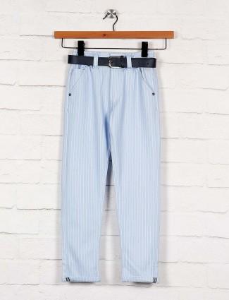 U-tex beige solid cotton slim fit trouser