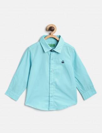 UCB aqua solid cotton shirt