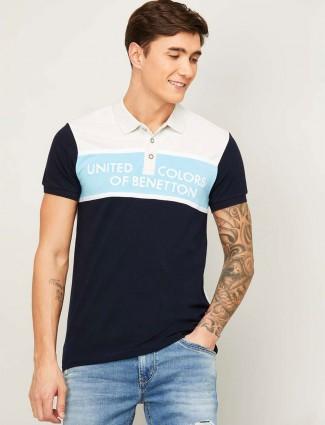 UCB navy printed half sleeves cotton polo t-shirt