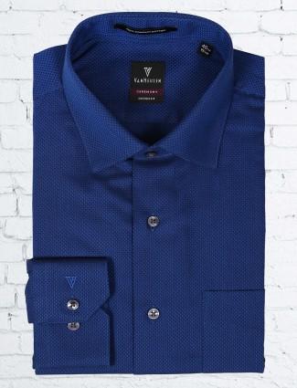 Van Heusen navy color solid shirt