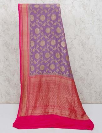 Violet banarasi silk designer saree