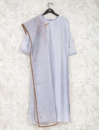 Violet cotton round neck kurti