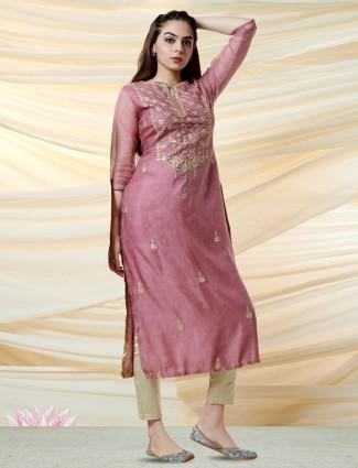 Violet kurti in cotton silk