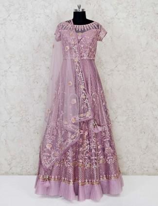 Violet net wedding wear gown