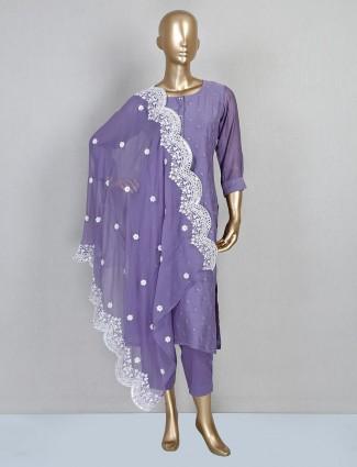 Violet pant style salwar suit for festive