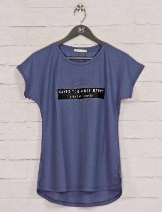 Violet printed cotton fancy top