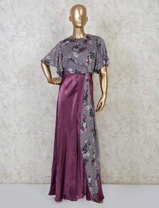Violet satin festive wear indo western suit