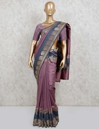Violet semi silk saree in festive wear
