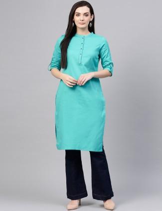 W aqua color solid cotton kurti
