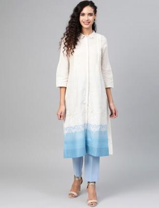 W brand white cotton casual wear kurti