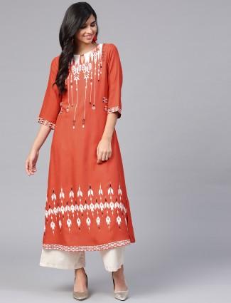 W bright orange cotton fabric kurti
