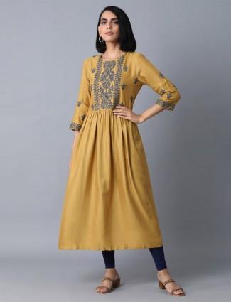 W mustard yellow kurti design in cotton