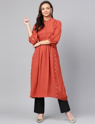 W orange designer cotton fabric kurti