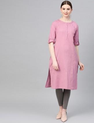 W pink solid cotton kurti