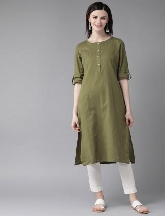 W solid dark green cotton half buttoned placket kurti