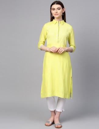 W yellow casual wear cotton kurti