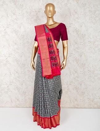 Wedding function hydrabadi patola silk grey saree